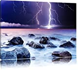 Threatening lightning strike to the sea 100x70 on canvas, XXL huge Pictures completely framed with stretcher, Art print on wall picture with frame, cheaper than oil paintings and picture, no poster or poster