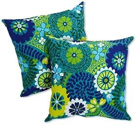 "Blazing Needles Blue Azure 17/"" Spun Polyester Outdoor Throw Pillows Set of 2"