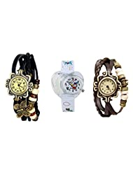 ANALOG KIDS WATCH WITH HELLO KITTY CARTOON PRINTED ON DIAL AND STRAP WITH 2 FREE WOMEN BRACELET WATCH-SET OF 3 - B01BGE82VW