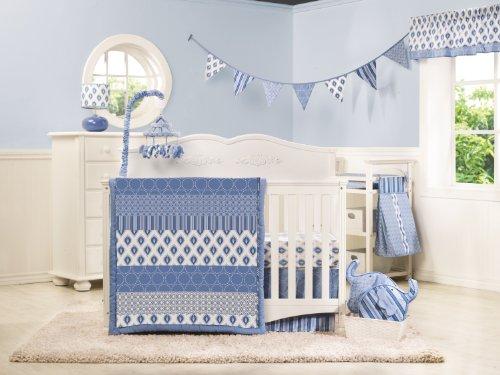 Dena Indigo Crib Set, Blue/White, 4 Piece