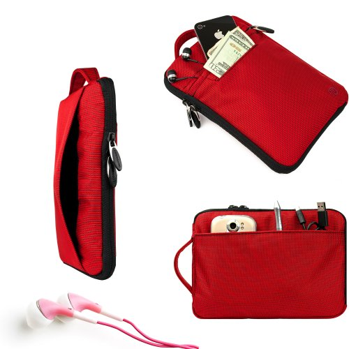 Vangoddy Fire Red Hydei Padded Carrying Case For The Visual Land Connect + Red Noise Cancelling Visual Land Connect Compatible Ear Bud