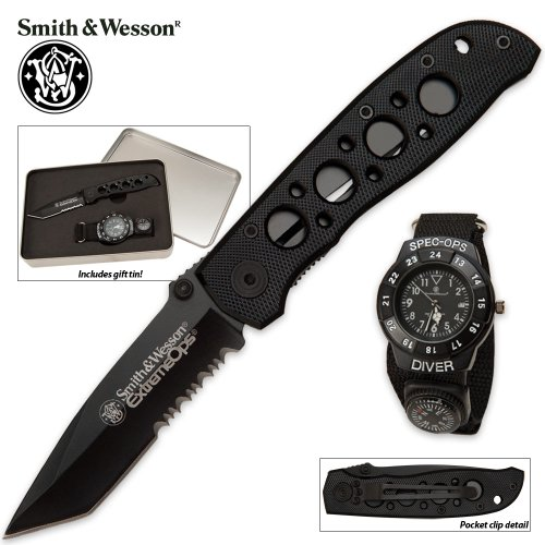 Smith & Wesson Special Ops Knife/Watch Gift Set
