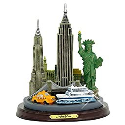 New York City Building Architectural Model Replica, 4.5 Inch Statue with Wooden Base, Brass Plaque