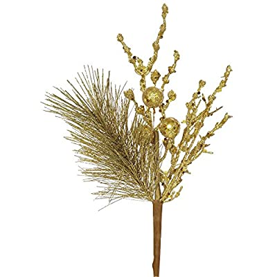 13 inch Gold Glittered Ball and Pine Christmas Spray