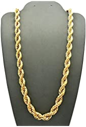 """ATJC Hip Hop Rapper's 6mm 30"""" Rope Chain Necklace Gold Tone"""