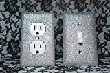 SET OF SILVER Glitter Switch Plate Outlet Covers ALL Styles Available!