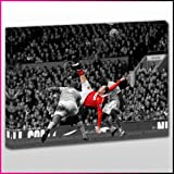 S359 Manchester United Wayne Rooney Overhead Kick Black&White Framed Ready To Hang Canvas Print, Sport, Pop Street Wall Art, Picture