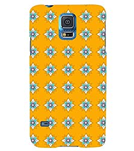 Printvisa Yellow And Flue Floral Pattern Back Case Cover for Samsung Galaxy S5 Mini::Samsung Galaxy S5 Mini G800F