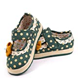 Mumuwu Baby Kids Girls Mary Jane Shoes Princess Cotton Flater with Bow Decoration (25-UK8 child-15.5cm, green)