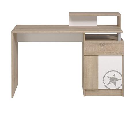 Bureau avec rangements chêne et blanc, H 91 x L 122 x P 55 cm -PEGANE-