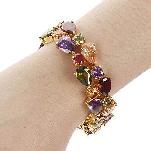EVER FAITH Dual Layer Multicolor Full Prong CZ Bracelet Chain Gold-Tone