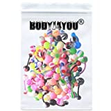 BodyJ4You® Lot of 50 Assorted Bioflex Belly Button Rings Flexible 14 Gauge (50 Pieces)