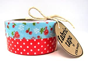 FLORAL & RED DOTS 2 X 5M ROLLS COTTON FABRIC STICKY ADHESIVE DECORATIVE TAPE TRIM CRAFT DIY WRAP