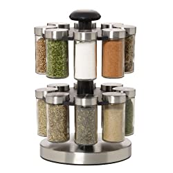 Kamenstein Lexington 16-Jar Revolving Spice Rack with Free Spice Refills for 5 Years