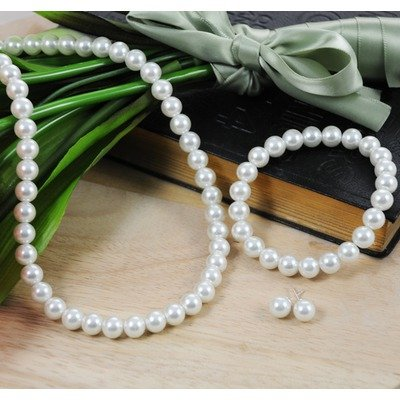 3 Piece Bridal Pearl Jewelry Set in White