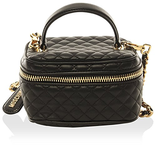 Moschino-Womens-Quilted-Handbag-Black-Mini