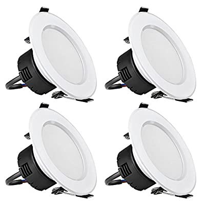 LE 6W 3.5-Inch LED Recessed Ceiling Lights, 50W Halogen Bulb Equivalent, Warm White, Recessed Light, Downlight, Pack of 4 Units