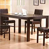 Contemporary Style Cappuccino Finish Dining Table w/Drawers
