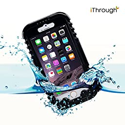 iPhone 6 Plus Waterproof Case, iThroughTM iPhone 6 Plus Waterproof Case, Dust Proof, Snow Proof, Shock Proof Case, Heavy Duty Carrying Cover Case for iPhone 6 Plus, iPhone 6S Plus 5.5 inch (Black)