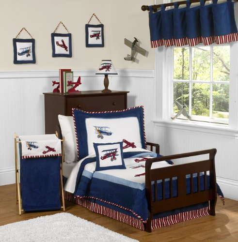 Red, White and Blue Vintage Aviator Airplane 5 Piece Toddler Boy Bedding Set