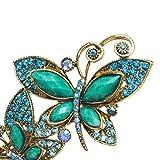 Skyllc® Girls Retro Mariposa Bronce cristalino verde de pelo Pin del palillo del pelo