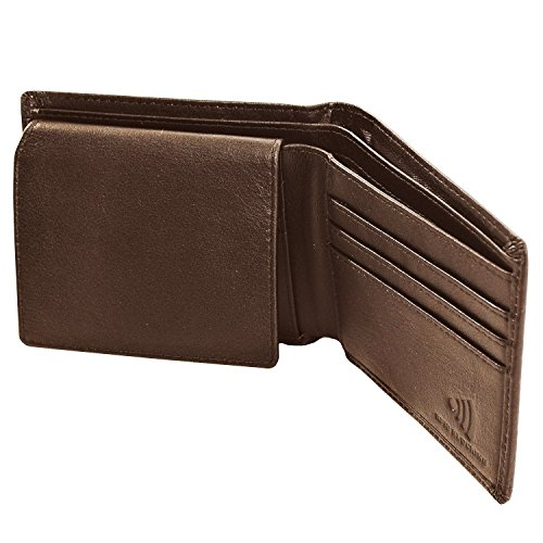 Leather RFID Blocking Wallet For Men with Identity Theft Prevention Lining - Ideal Gifts For Him - Bifold with 6 Credit Card Pockets - Black/Brown