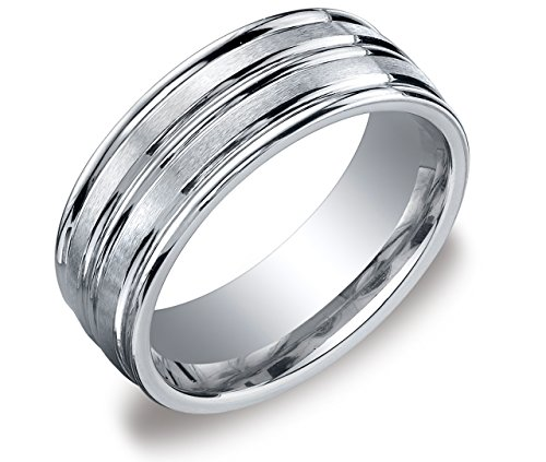 Men's 10k White Gold 8mm Comfort-Fit Wedding Band with Satin-Finish and Polished Insets