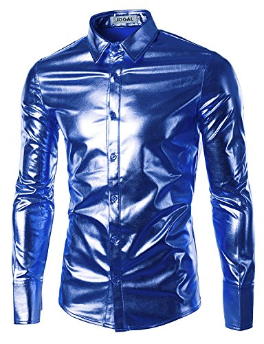 JOGAL Mens Trend Nightclub Styles Metallic Silver Button Down Shirts X-Large Blue (Night Clubs compare prices)