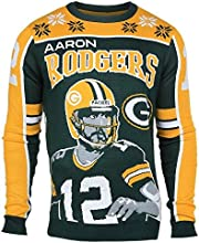 Forever Collectibles NFL Green Bay Packers Rodgers A. #12 2015 Player Ugly Sweater, Medium, Green