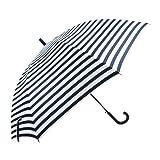 Okushii[オクシー] 傘 レディース 長傘 大きい傘 大きめの傘 ボーダープリント 65cm ジャンプ傘 ネイビー
