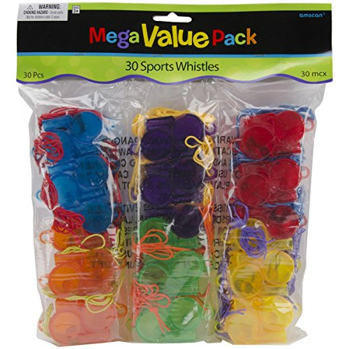 Amscan Mega Value Pack Party Favors, Sports Whistles, 30 Per Package