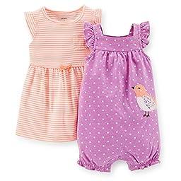 Carter\'s 2 Piece Dress & Romper Set (Baby) - Purple-12 Months