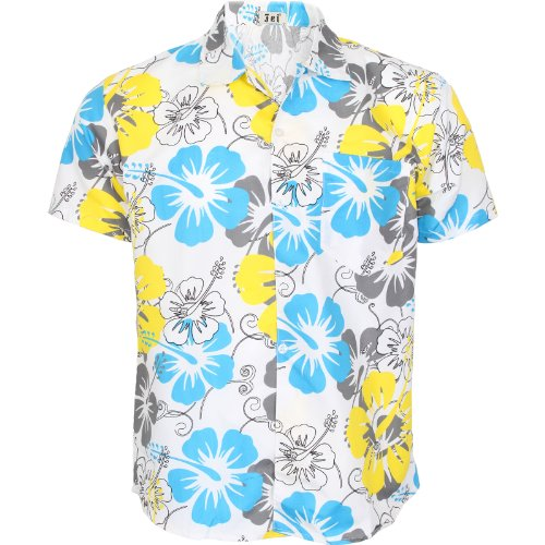 Runway Splash - Herren Männer Hawaii Blumen Rockabilly Surf Strand Party Kurzarm Hemd - 3XL, Gelb