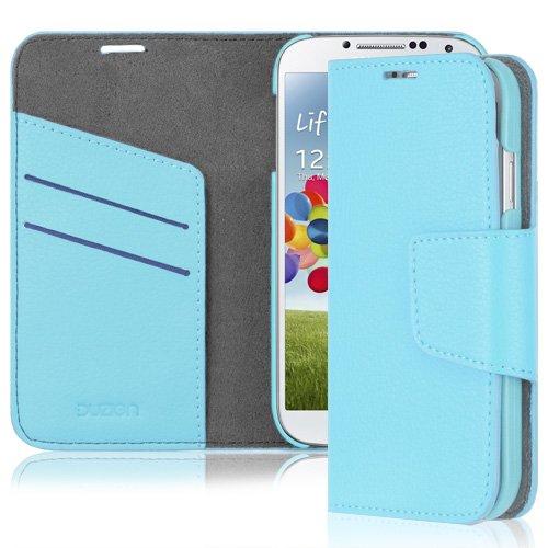Duzign Vestige Wallet Schutzhülle (Hellblau) für Samsung Galaxy S4 i9500 (automatischer Weck-/ Schlaffunktion)