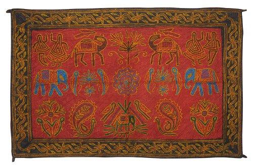 Imagen 2 de Wall Hanging tapiz decorativo indio con tamaño de trabajo elefante bordado 35 x 22 pulgadas