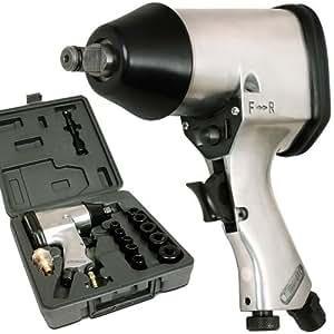 Clé à chocs Pneumatique - 6,3 bar - Couple maximum : 310 Nm - divers accessoires inclus - avec malette
