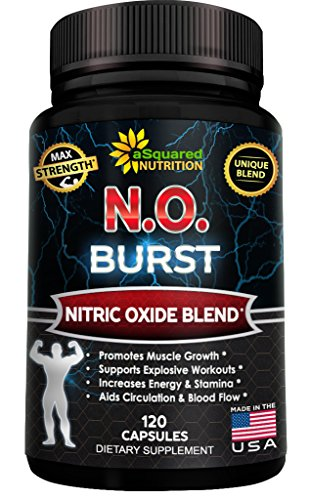 N.O. BURST - Best Nitric Oxide Supplement with L-Arginine & L-Citrulline (120 Capsules) - Nitric Oxide Boosters Pills for Endurance, Energy, Cardio Heart Health, Build Muscle & Strength (Mass Peak Protein Powder compare prices)