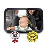 InnooTech Baby Spiegel Rücksitzspiegel Autospiegel für Babys im Reboard Kindersitz | klarer weiter Winkel | Haben Sie Ihr Kind hinten im Blick | auf Bruchsicherheit getestet | Sticker Baby im Auto