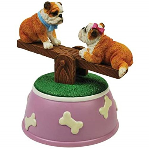 WL SS-WL-20807 Bulldog Puppies Musical See-Saw Figurine with Purple Dog Bones, 5.25