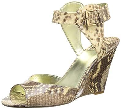 Nine West Women's Misscharm Wedge Sandal,Natural Multi Synthetic,5.5 M US