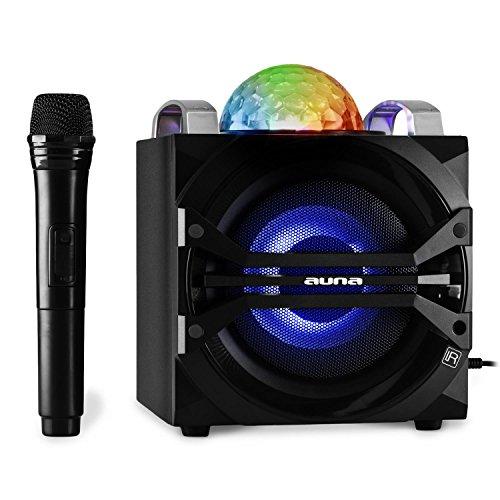 auna-DisGo-Box-65-Karaoke-Musikanlage-Audiosystem-Party-Lautsprecher-mit-Funk-Mikrofon-und-LED-Lichteffekten-Akku-Bluetooth-Schnittstelle-tragbar-MP3-USB-Slot-UKW-Tuner-AUX-schwarz