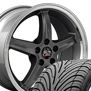Cobra R Deep Dish Style Wheels and Tires with Machined Lip Fits Mustang (R) - Gunmetal18x9 Set of 4