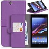 Handyhülle | Tasche | Cover | Case für das Sony Xperia Z Ultra von DONZO in Violett Wallet Structure als Etui seitlich aufklappbar im Book-Style mit Kartenfach nutzbar als Geldbörse