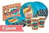 Ginger Ray Essential Party Kit for 8 Guests - Pop Art Superhero Party