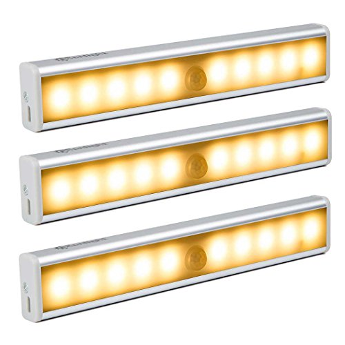 CeSunlight Stick on Anywhere Portable 10 LED Wireless Motion Sensing Night Light Bar with Magnetic Strip, Perfect for Closet / Cabinet / Corridor ( SEN002 Warm Light 3 Pack ) (Miniature Hand Fans compare prices)