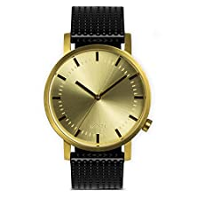 buy Moti Modern Watch (Unisex) - Gold With Black Leather Strap