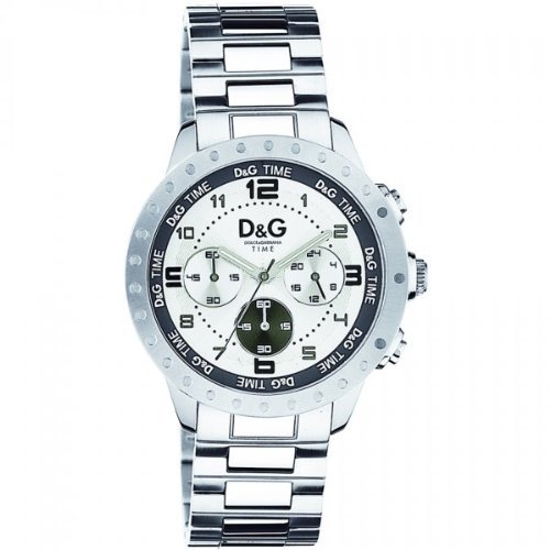 Dolce  &  Gabbana DW0191 Men's Analog Quartz Watch with Chronograph and Silver Stainless Steel Bracelet