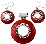 Exotic India Carnelian Pendant with Matching Earrings Set - Sterling Silver