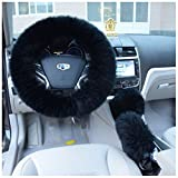 """Fendior 3 Pcs 1 Set Winter Warm Faux Wool Steering Wheel Cover with Handrake Cover & Gear Shift Cover for 14.96"""" X 14.96"""" Steeling Wheel in Diameter"""
