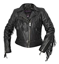 Hot Sale Interstate Leather Ladies Fringe Jacket (Black, XX-Large)